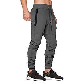 men's jogger pants slim fit workout close bottom sweat pants with zipper pockets deep gray