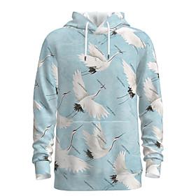 Men's Weekend Pullover Hoodie Sweatshirt Animal Patterned Graphic Tribal Oversized Hooded Casual Streetwear Hoodies Sweatshirts  Long Sleeve White Blue