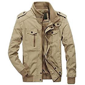 men's casual full-zip work wear military cotton lightweight jacket windbreaker (medium, 22khaki)