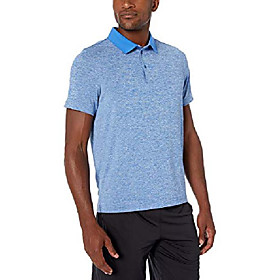 amazon brand - menamp; #39;s tech-stretch short sleeve quick-dry loose-fit polo shirt, electric blue heather, x-large