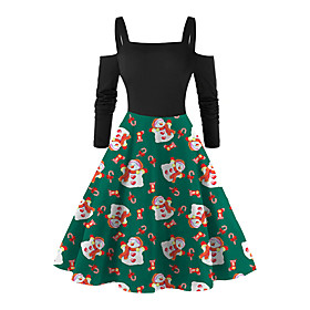 Women's A-Line Dress Knee Length Dress - Long Sleeve Print Patchwork Print Fall Square Neck Vintage Slim 2020 Black Red Green S M L XL XXL