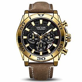 men's business analogue chronograph luminous auto calendar quartz wrist watch with stylish brown leather strap alloy case 2094 gold