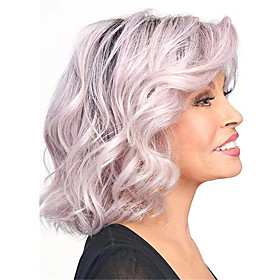 Synthetic Wig Curly Loose Curl Asymmetrical Wig Short Purple Synthetic Hair 6 inch Women's Classic Ombre Hair Exquisite Pink Brown