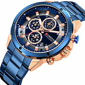 men's luxury quartz watches casual analog calendar chronograph stainless steel waterproof wrist watch