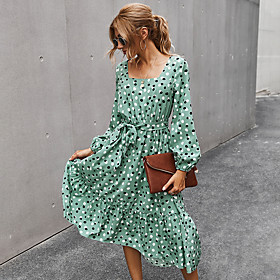 Women's A-Line Dress Midi Dress - Long Sleeve Polka Dot Patchwork Print Fall Square Neck Elegant Going out Slim 2020 Red Light Green Navy Blue S M L XL