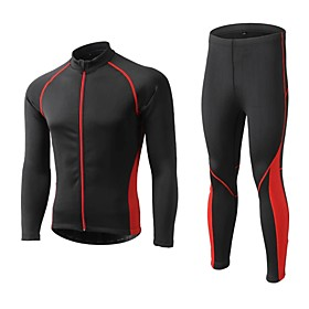 Men's Long Sleeve Cycling Jersey with Tights Winter Fleece Polyester Black Red Blue Patchwork Bike Clothing Suit Thermal / Warm Waterproof Windproof Fleece Lin