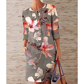 Women's Sheath Dress Knee Length Dress - 3/4 Length Sleeve Floral Button Spring Fall Elegant Loose 2020 Rainbow M L XL XXL 3XL