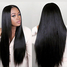Synthetic Wig Straight Middle Part Wig Long Very Long Black Synthetic Hair 65 inch Women's Fashionable Design Party Middle Part Black