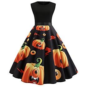 Women's A-Line Dress Knee Length Dress - Sleeveless Print Bow Patchwork Print Summer Elegant Vintage Party Slim 2020 Black Yellow S M L XL XXL