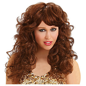Cosplay Wig Seduction Brown Curly With Bangs Wig Long Brown Synthetic Hair Women's Anime Cosplay Exquisite Brown