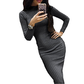 Women's Sheath Dress Midi Dress - Long Sleeve Solid Color Patchwork Fall Sexy Skinny 2020 Black Wine Khaki Dark Gray S M L XL XXL 3XL 4XL 5XL