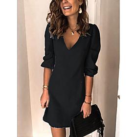 Women's A-Line Dress Knee Length Dress - 3/4 Length Sleeve Solid Color Patchwork Fall Casual Loose 2020 Black Blue Gray Light Blue S M L XL XXL 3XL