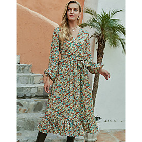 Women's A-Line Dress Midi Dress - Long Sleeve Floral Ruffle Print Fall Winter V Neck Casual Going out Lantern Sleeve 2020 Green S M L XL