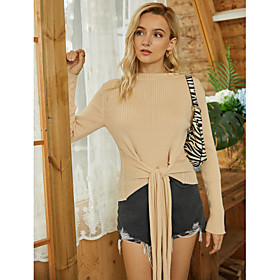 Women's Going out Blouse Shirt Solid Colored Long Sleeve Knotted Round Neck Tops Basic Basic Top Beige