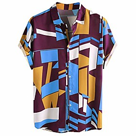 fastbot men's t-shirt short sleeve fit cotton mens contrast color geometric printed turn down collar loose shirts purple