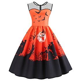 Halloween Women's A-Line Dress Knee Length Dress - Sleeveless Print Mesh Pocket Patchwork Summer Casual Vintage Party 2020 Purple Orange S M L XL XXL 3XL