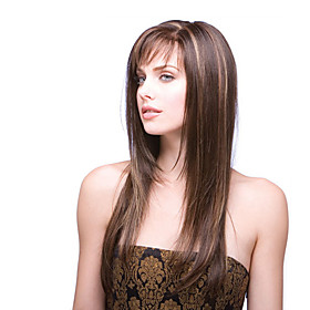 Synthetic Wig kinky Straight Middle Part Lace Front Wig Long Brown Synthetic Hair 18 inch Women's Classic Highlighted / Balayage Hair Exquisite Brown