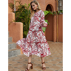 Women's Swing Dress Midi Dress - Long Sleeve Print Print Fall Winter Casual Vintage Going out Lantern Sleeve 2020 Red S M L XL