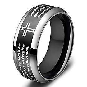 men's titanium ring 8mm black lords prayer ring with christian scripture cross praying size 11