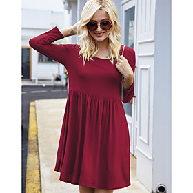 Women's Sheath Dress Short Mini Dress - Long Sleeve Solid Color Fall Winter Work Casual Slim 2020 Black Purple Wine Army Green Dusty Blue S M L XL XXL 3XL