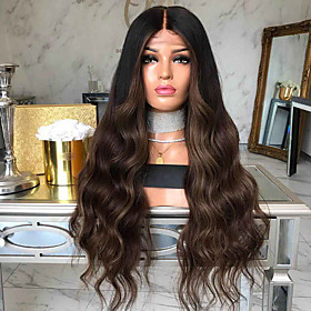 Synthetic Wig Body Wave Middle Part Wig Long Black / Brown Synthetic Hair 26 inch Women's Fashionable Design Party Natural Hairline Black Brown