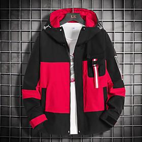 Men's Jacket Regular Color Block Daily Basic Red Green Gray M L XL