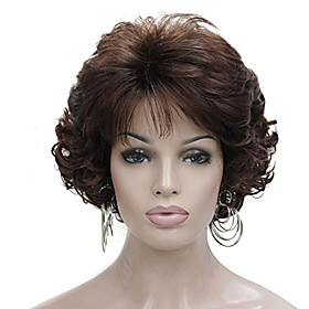 dark brown short curly wavy wig with hair bangs 100% imported premium synthetic fashion brown hair wigs for women (brown)