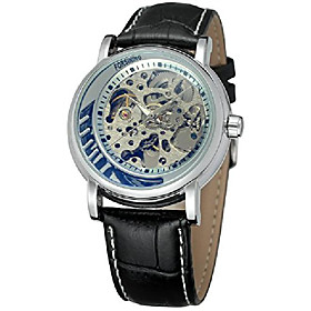 men's classic steampunk skeleton automatic mechanical stainless steel leather watch
