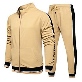 Men's 2-Piece Full Zip Tracksuit Sweatsuit Athletic Casual Long Sleeve Thermal / Warm Breathable Gym Workout Running Jogging Training Exercise Sportswear Outfi