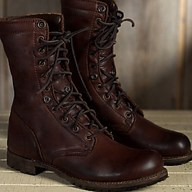 Women's Boots Cowboy Western Boots Chunky Heel Round Toe Vintage Punk  Gothic British Daily Lace-up Solid Colored PU Mid-Calf Boots Winter Brown