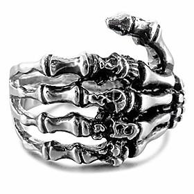 men's stainless steel ring band silver tone black skull hand bone size15