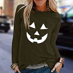 Women's Halloween T-shirt Graphic Prints Pumpkin Long Sleeve Print Round Neck Tops 100% Cotton Basic Halloween Basic Top White Black Army Green