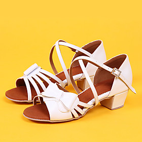 Women's Ballet Shoes Heel Thick Heel PU Leather Bowknot Buckle White / Pink
