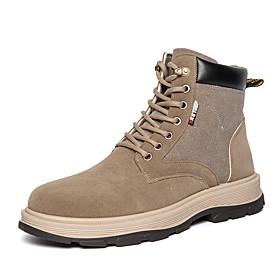 Men's Boots Business / Classic / Casual Daily Outdoor Leather Breathable Non-slipping Wear Proof Black / Khaki Spring / Fall