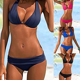 Women's Sexy Bikini Swimsuit Basic Push Up Solid Colored Halter Neck Swimwear Bathing Suits Black Blue Fuchsia Green / Padded Bras