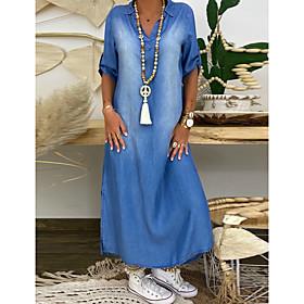 Women's Denim Dress Maxi long Dress - Half Sleeve Summer V Neck Plus Size Casual Hot vacation dresses 100% Cotton Loose 2020 Blue M L XL XXL 3XL