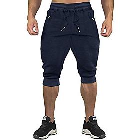men's 3/4 capri pants jogger running workout shorts zipper pockets blue