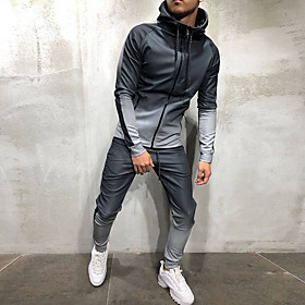 Men's 2-Piece Full Zip Tracksuit Sweatsuit Athletic Athleisure Long Sleeve Winter Thermal Warm Breathable Soft Fitness Gym Workout Running Jogging Bodybuilding