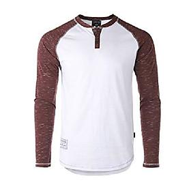 men's casual color block long sleeve raglan athletic fashion henley shirt white/maroon