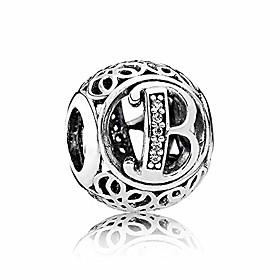 letter b alphabet charm 925 sterling silver bead fits pandora bracelet necklace