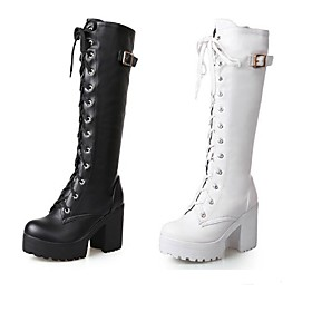 Women's Knee High Boots Block Heel Chunky Heel Slouch Boots Punk  Gothic Dress Lace-up Solid Colored Leatherette Knee High Boots Winter White / Black / EU42
