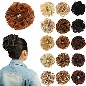 synthetic hair bun extensions for women curly messy donut updo hair piece