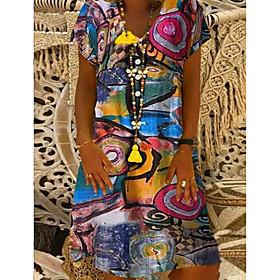 Women's Shift Dress Knee Length Dress - Short Sleeve Print Print Summer V Neck Casual Loose 2020 Black Blue Orange Green S M L XL XXL 3XL 4XL 5XL