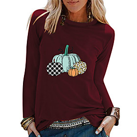Women's Halloween T-shirt Graphic Prints Pumpkin Long Sleeve Print Round Neck Tops 100% Cotton Basic Halloween Basic Top White Black Red