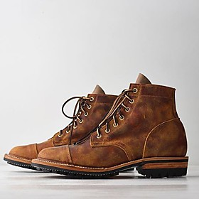 Men's Boots Work Boots Casual Daily PU Black / Army Green / Blue Fall / Winter / Square Toe / Rivet