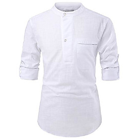 (nknkn381 mens china collar henley neck roll-up sleeve basic linen shirts white us xxxl(tag size 3xl)