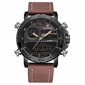 men's digital sports watch waterproof multi-function watch with leather strap military wrist watch for men