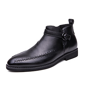Men's Boots Business / Classic / Casual Daily Office  Career PU Breathable Non-slipping Wear Proof Black Fall