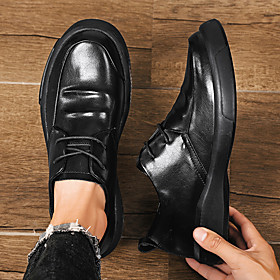 Men's Loafers  Slip-Ons Casual / Vintage Athletic Daily Walking Shoes PU Breathable Shock Absorbing Black Spring / Fall