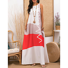 Women's A-Line Dress Maxi long Dress - Sleeveless Color Block Print Summer Plus Size Casual Holiday 2020 White S M L XL XXL 3XL 4XL 5XL